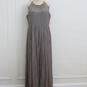 J. Crew Gray sleeveless long chiffon gown 16